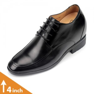Mens Formal Black Leather Height Increasing Shoes
