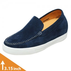 Altolia Blue Casual Height Elevator Loafers