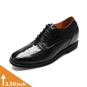Ostrich Black Leather Elevator Shoes