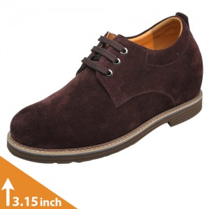 Mens Dark Brown Casual Elevator Shoes