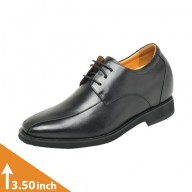 Mens Black Leather Lace-up Height Increasing Shoes