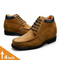 Camel Brown Suede Leather Height Increasing Shoes